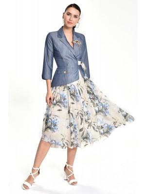 Sensiline - 212803 Mavi Çiçek Elbise