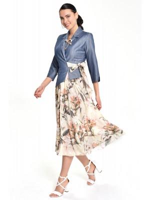 Sensiline - 212803 Bej Çiçek Elbise